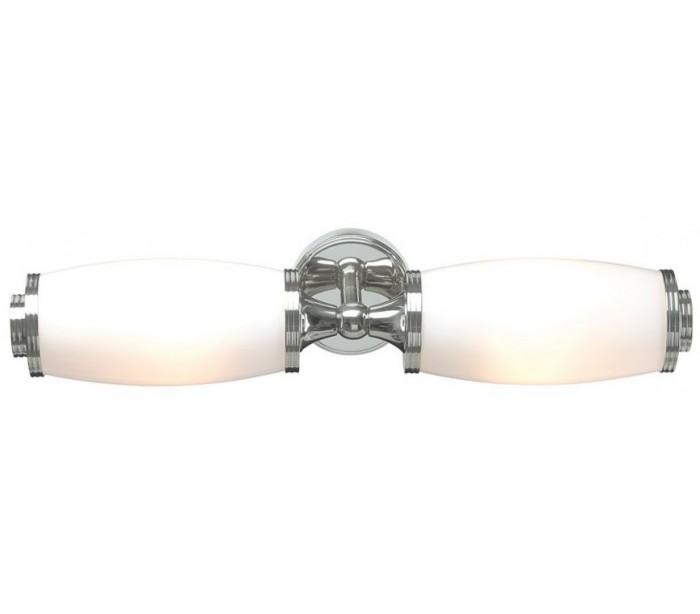 Image of   Eliot Badeværelseslampe i messing og glas B47 cm 2 x G9 LED - Poleret krom/Hvid