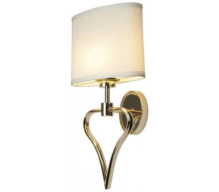 Image of   Falmouth Badeværelseslampe i stål og tekstil H42,4 cm 2 x G9 LED - Poleret guld/Hvid