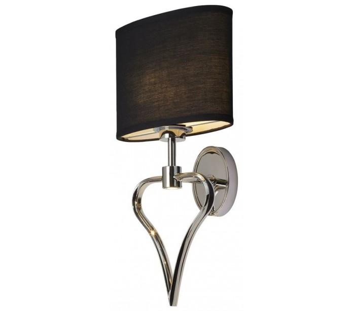 Image of   Falmouth Badeværelseslampe i stål og tekstil H42,4 cm 2 x G9 LED - Poleret krom/Sort