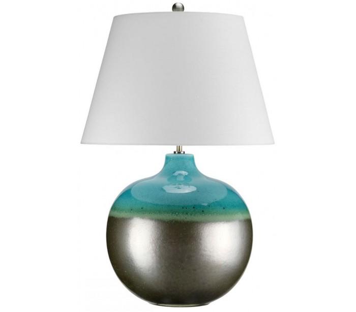Lagun bordlampe h71 cm 1 x e27 - turkisgrå/creme fra elstead lighting fra lepong.dk