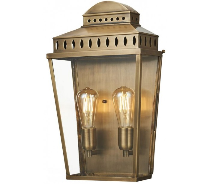 Mansion house væglampe h48,9 cm 2 x e27 - aldret messing fra elstead lighting fra lepong.dk