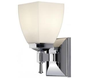 Shirebrook Badeværelseslampe i stål og glas H23 cm 1 x G9 LED - Poleret krom/Hvid