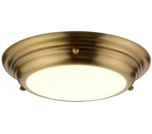 Welland Badeværelseslampe i stål og glas Ø24,5 cm 1 x LED - Aldret messing