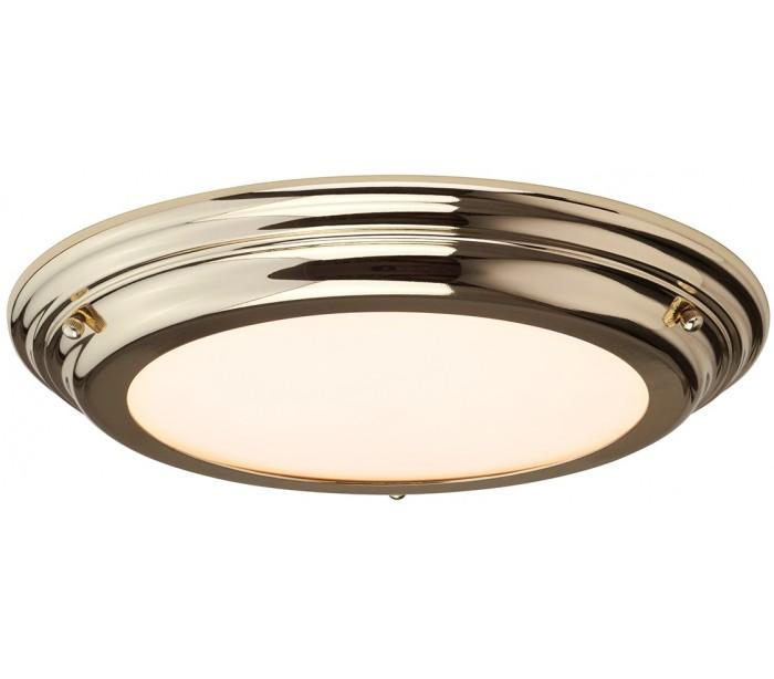 Welland Badeværelseslampe i stål og glas Ø36,1 cm 1 x LED – Poleret messing