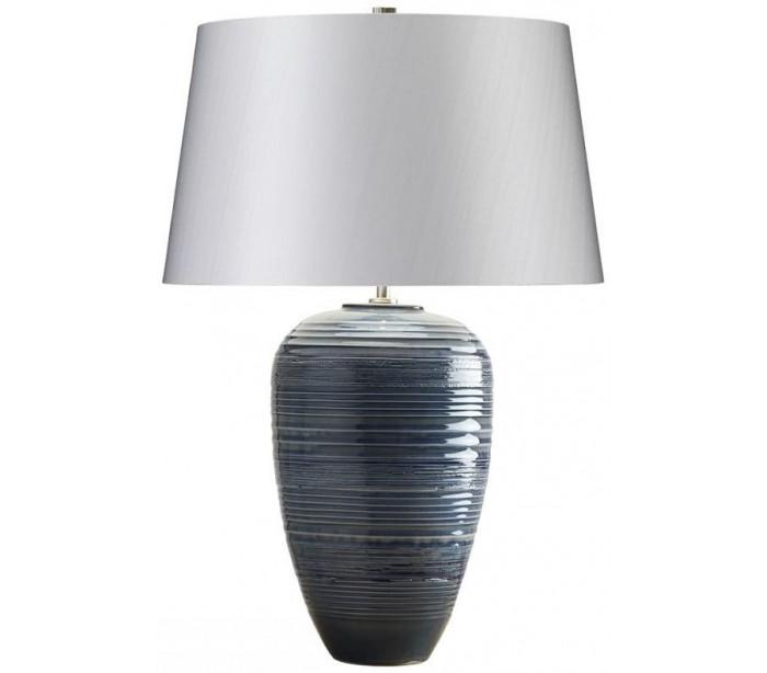 Poseidon bordlampe h63 cm 1 x e27 - blå glaseret/sølvgrå fra elstead lighting på lepong.dk