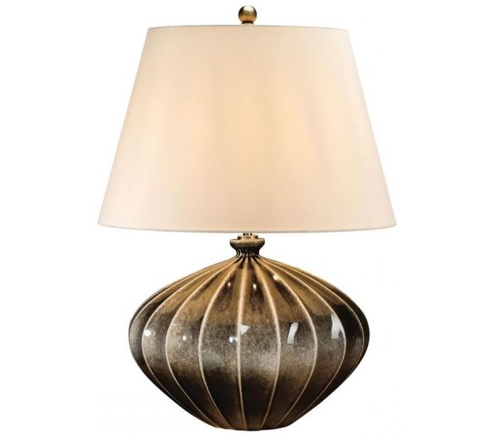 elstead lighting Rib pumpkin bordlampe h63 cm 1 x e27 - sortgrå glaseret/creme på lepong.dk