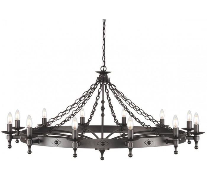 Warwick lysekrone ø122 cm 12 x e14 - granit sort fra elstead lighting på lepong.dk