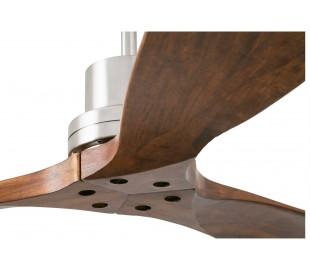 Lantau loftventilator Ø132 cm - Mat nikkel/Valnød