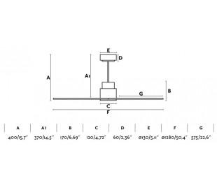 Nassau loftventilator Ø128 cm - Hvid