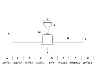 Andros loftventilator Ø213,3 cm - Hvid