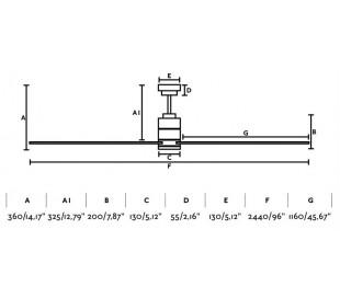Manhattan loftventilator med lys Ø244 cm - Grå