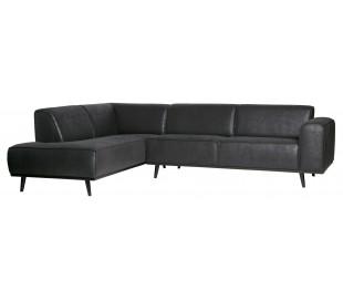 Hjørnesofa i pu-læder 274 x 210 cm - Vintage sort