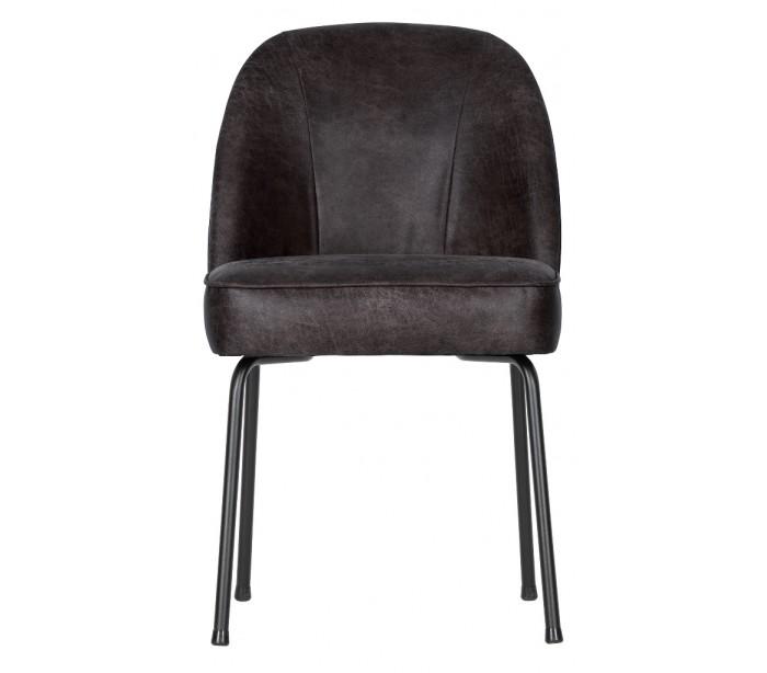 deko light Spisebordsstol i læder h82,5 x b50 x d57 cm - vintage sort på lepong.dk