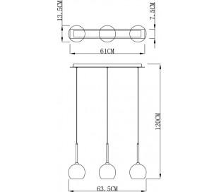 Bunda loftlampe i glas 3 x G9 B63,5 cm - Sølv