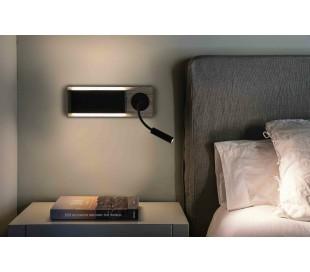 Væglampe med slangearm 37 x 13 cm LED - Sort/Natur