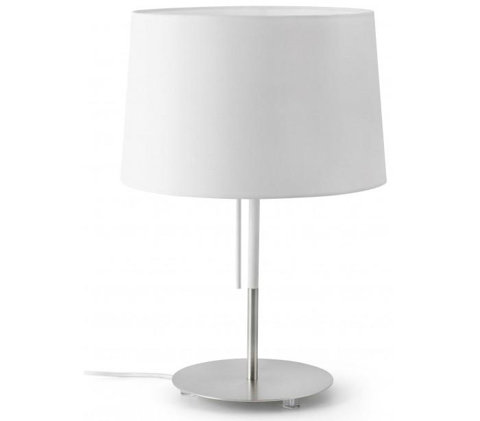 Image of   Bordlampe i tekstil og metal H45 x Ø31 cm 1 x E27 - Hvid/Krom