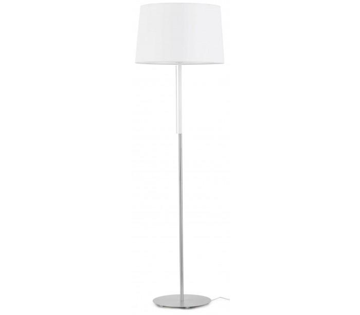 Image of   Gulvlampe i tekstil og metal H151 x Ø45 cm 1 x E27 - Hvid/Krom