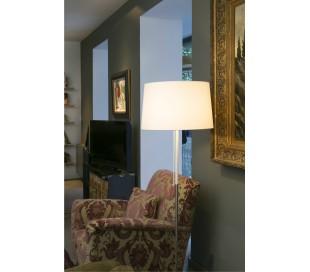Gulvlampe i tekstil og metal H151 x Ø45 cm 1 x E27 - Hvid/Krom