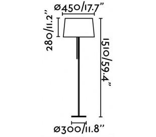 Gulvlampe i tekstil og metal H151 x Ø45 cm 1 x E27 - Sort/Krom