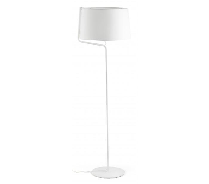 Image of   Gulvlampe i tekstil og metal H151 x Ø48 cm 1 x E27 - Hvid/Krom