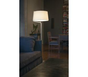 Gulvlampe i tekstil og metal H151 x Ø48 cm 1 x E27 - Hvid/Krom