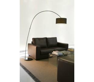 Gulvlampe med bue i tekstil og metal H200 cm 1 x E27 - Sort