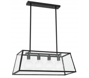 Industriel loftlampe i metal og glas 77,5 cm 4 x E27 - Sort