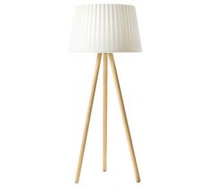 AGATA indendørs gulvlampe i Poleasy og træ H180 x Ø80 cm - Hvid/Natur