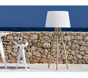 AGATA udendørs gulvlampe i Poleasy og træ H180 x Ø80 cm - Hvid/Natur