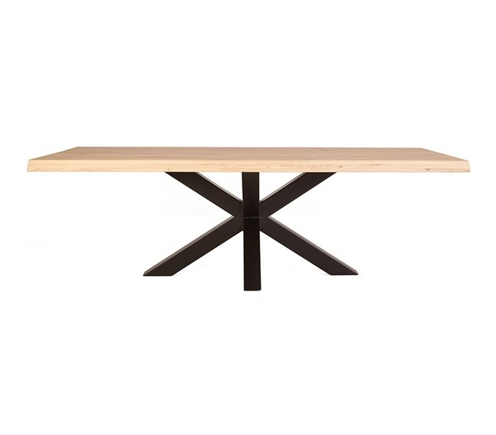 Rustikt spisebord 200 x 100 cm i massivt egetræ – Natur/Sort fra Selected by Lepong