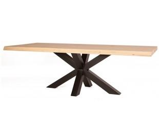 Rustikt spisebord 200 x 100 cm i massivt egetræ - Natur/Sort