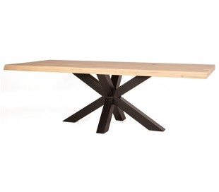 Rustikt spisebord 240 x 100 cm i massivt egetræ - Natur/Sort