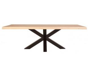 Rustikt spisebord 300 x 100 cm i massivt egetræ - Natur/Sort