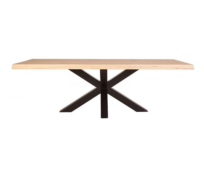 selected by lepong Rustikt spisebord 300 x 100 cm i massivt egetræ - natur/sort fra lepong.dk
