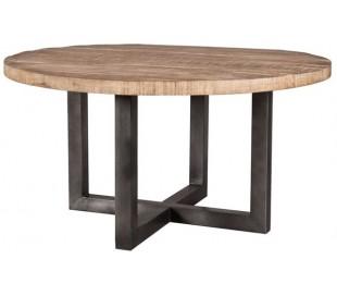 Rustikt rundt spisebord Ø130 cm i mangotræ - Natur/Jerngrå