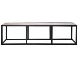 Industrielt sofabord 140 x 40 cm i marmor og metal - Sort/Sort