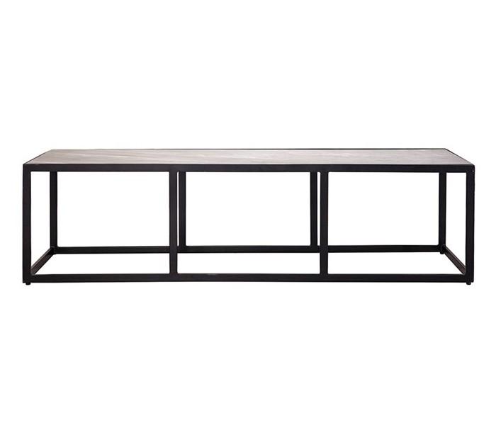 Image of   Industrielt sofabord 140 x 40 cm i marmor og metal - Sort/Sort