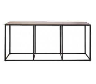 Industrielt konsolbord 180 x 40 cm i marmor og metal - Sort/Sort