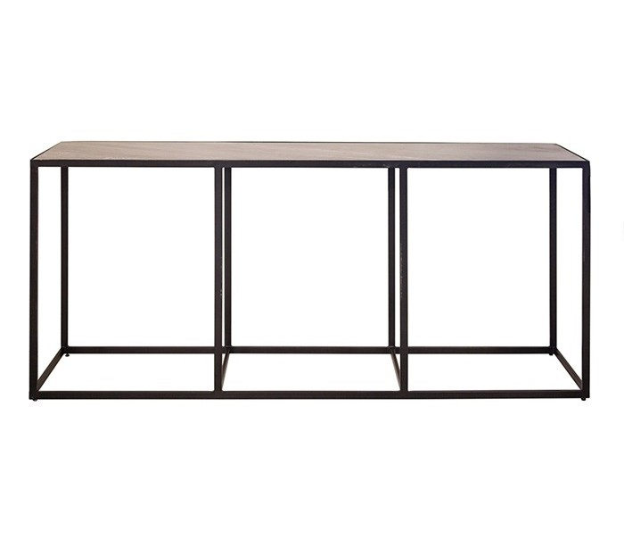 Image of   Industrielt konsolbord 180 x 40 cm i marmor og metal - Sort/Sort