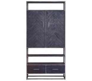 Industrielt kabinet 200 cm i akacietræ - Sort/Jerngrå