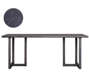 Industrielt spisebord 160 x 90 cm i akacietræ - Sort/Jerngrå