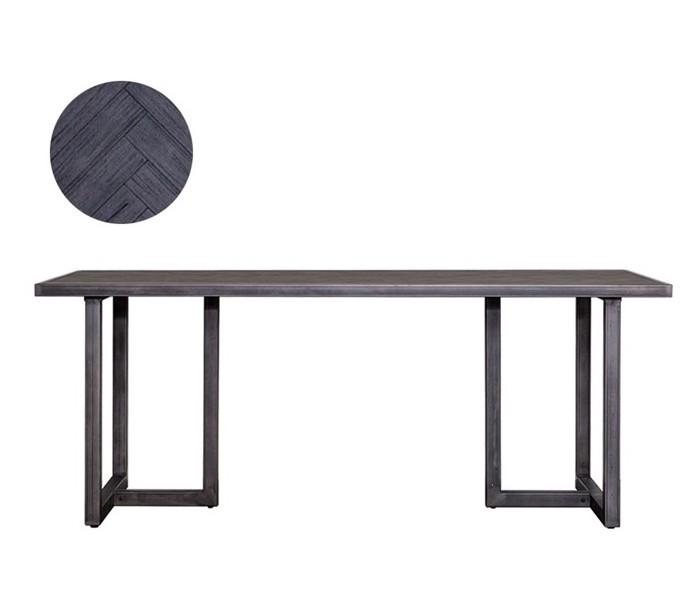 Image of   Industrielt spisebord 160 x 90 cm i akacietræ - Sort/Jerngrå