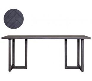 Industrielt spisebord 200 x 100 cm i akacietræ - Sort/Jerngrå