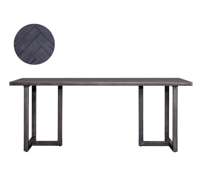 Image of   Industrielt spisebord 200 x 100 cm i akacietræ - Sort/Jerngrå