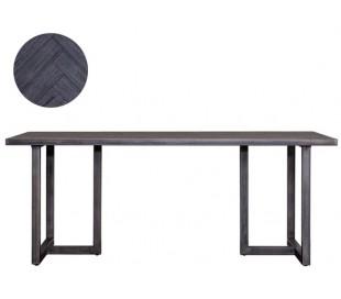 Industrielt spisebord 240 x 100 cm i akacietræ - Sort/Jerngrå