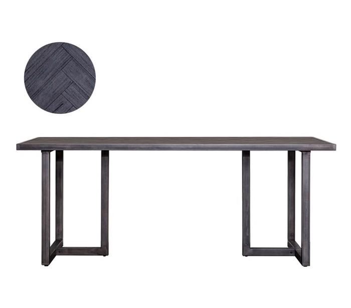 Image of   Industrielt spisebord 240 x 100 cm i akacietræ - Sort/Jerngrå