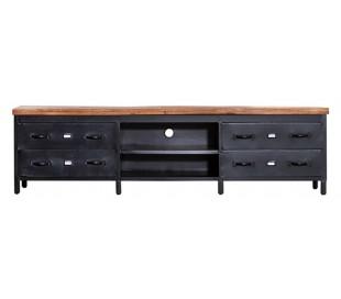 Tvbord med skuffer 205 cm i mangotræ og metal - Sort/Natur