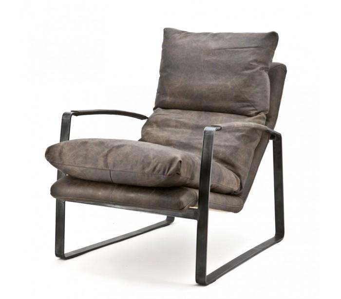 Image of   Lex lænestol med armlæn i ægte læder H94 cm - Mørkebrun