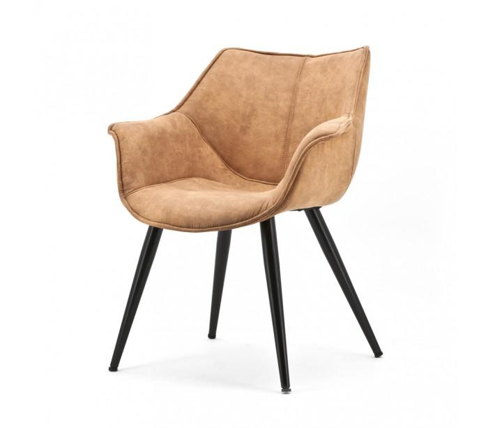 selected by lepong – 2 x samuel spisebordsstole med armlæn h82 cm - cognac fra lepong.dk