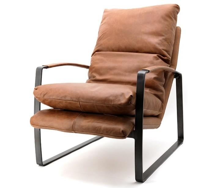 Image of   Lex lænestol med armlæn i ægte læder H94 cm - Vintage cognac